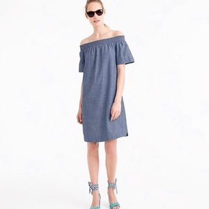 🎀 J Crew Blue Chambray Off The Shoulder Dress
